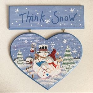 Think Snow holiday painted wall decor vintage